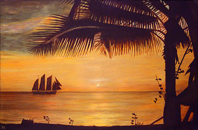 Tropical Sunset Painting - Sunset Silhouette by Ronald Haber