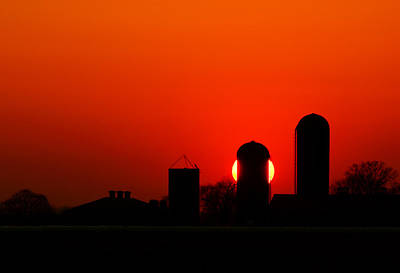 Sunset Silo Art Print by Cale Best