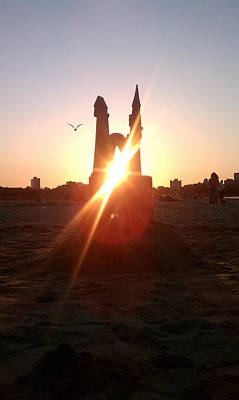 Art Print featuring the photograph Sunset Sunlit Sandcastle With Flying Bird On A Chicago Beach by M Zimmerman