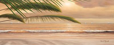 Sunset Surf Panoramic Art Print by Diane Romanello