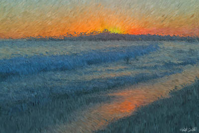 Sunset Surfers Art Print by Heidi Smith