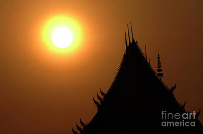 Boat Along The River Photograph - Sunset Temple Laos by Bob Christopher