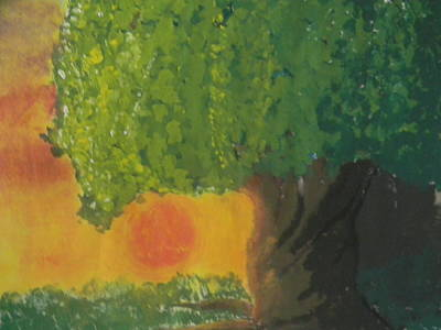 Orange Mixed Media - Sunset Tree by Mahalaleel Muhammed-Clinton