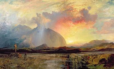 Mountain Painting - Sunset Vespers At The Old Rugged Cross by Thomas Moran
