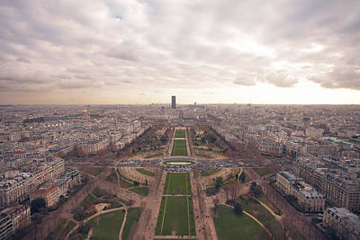 Sunset View Over Eiffel Tower Print by Nico De Pasquale Photography