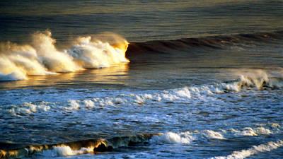 Sunset Wave Rockaway Beach Nyc Art Print by Maureen E Ritter