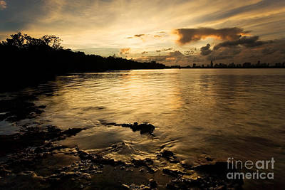 Sunset With Miami In The Distance Art Print by Matt Tilghman