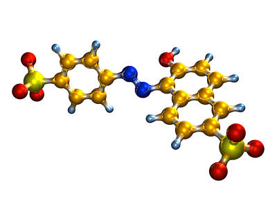 Sunset Yellow Food Colouring Molecule Art Print