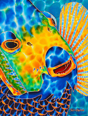 Salt Water Game Fish Painting - Sunshine Angelfish by Daniel Jean-Baptiste