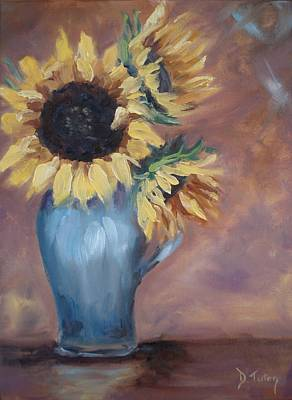 Tuscan Sunflowers Painting - Sunshine In A Vase by Donna Tuten