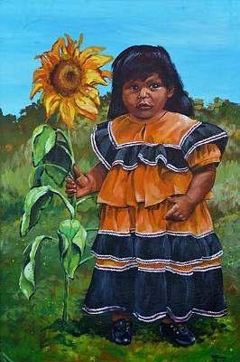 Navajo Children Painting - Sunshine by JW DeBrock