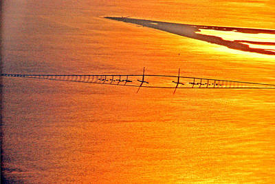 Photograph - Sunshine Skyway At Sunset by T Guy Spencer