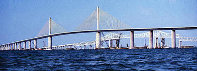 Bay Bridge Mixed Media - Sunshine Skyway Bridge II by Richard Rizzo