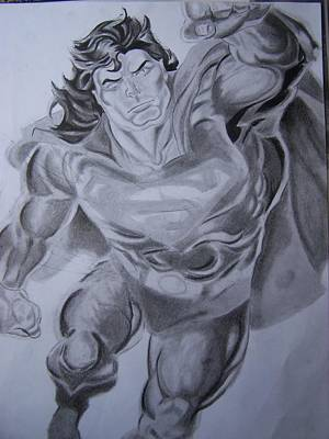 Drawing - Super Man by Luis Carlos A