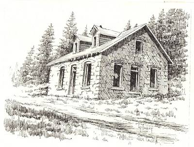Abandoned Building Drawing - Superintendents House Granite Ghost Town Montana by Kevin Heaney