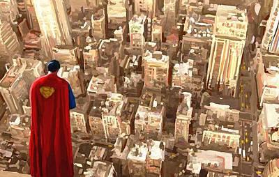 Superman Over Metropolis Signed Prints Available At Laartwork.com Coupon Code Kodak Art Print by Leon Jimenez