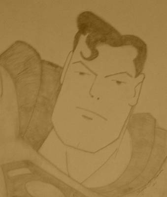 Justice League Drawing - Superman by Shayna  Keach