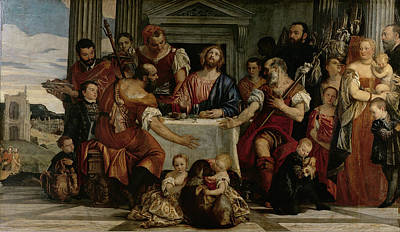 Woman Holding Baby Painting - Supper At Emmaus by Veronese