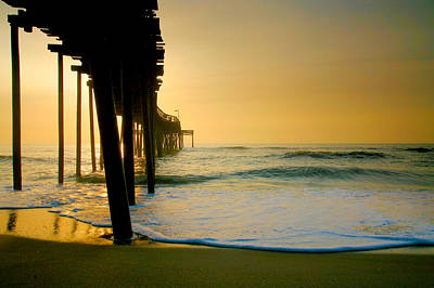 Hatteras Island Photograph - Surf And Pier At Sunrise  by Steven Ainsworth