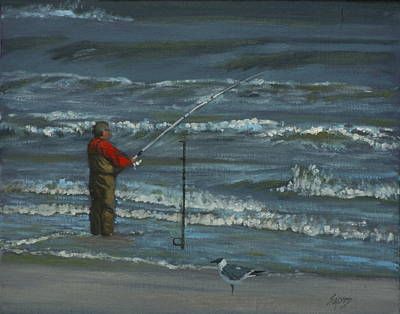 Painting - Surf Fishing by Linda Eades Blackburn