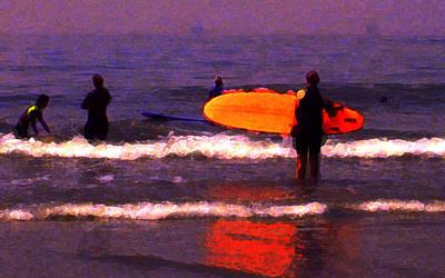 Surf Lessons Art Print by Ron Regalado