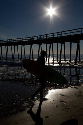 Photograph - Surfer And The Pier by Roger Mullenhour