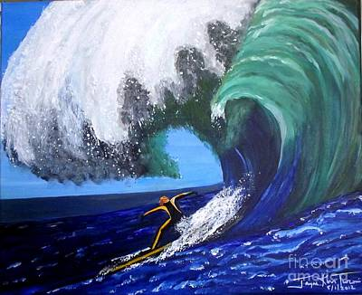 Painting - Surfer At Mavericks 2 by Jayne Kerr