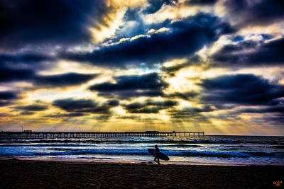 Photograph - Surfer At Pacific Beach by Chris Lord