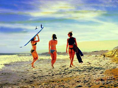 Surfer Girls  Art Print by Kevin Moore