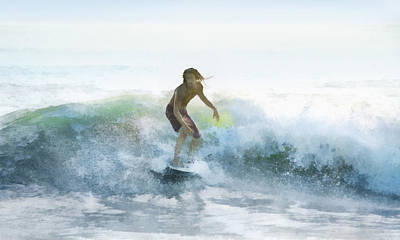 Digital Art - Surfer On A Morning Wave by Francesa Miller