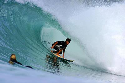 Surfer On Backhand Near Tube, Lagundri Bay, Pulau Nias, North Sumatra, Indonesia, South-east Asia Art Print by Paul Kennedy