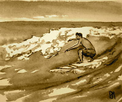 Surfing Drawing - Surfer Sepia by Pete Maier