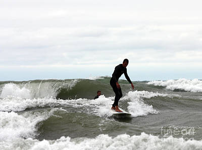 Beach Photograph - Surfers Challenging Wild Waves On Lake Michigan by Christopher Purcell