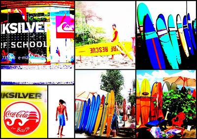 Surfing Bali Beaches Art Print by Funkpix Photo Hunter