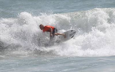 Photograph - Surfing In Cocoa Beach by Jeanne Andrews