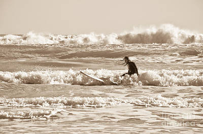 Surfing In The Boiling Water Art Print
