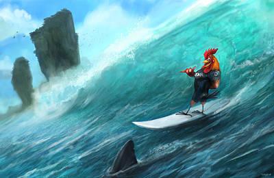 Rooster Digital Art - Surfing Rooster by Steve Goad