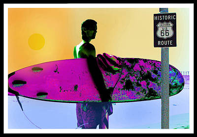 Route 66 Mixed Media - Surfing Route 66 by Samuel Veta