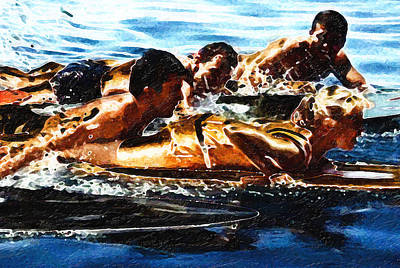 Surfing With The Boys Art Print by Ron Regalado