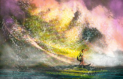 Extreme Sports Painting - Surfscape 02 by Miki De Goodaboom