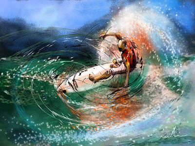 Wind Surfing Art Painting - Surfscape 03 by Miki De Goodaboom