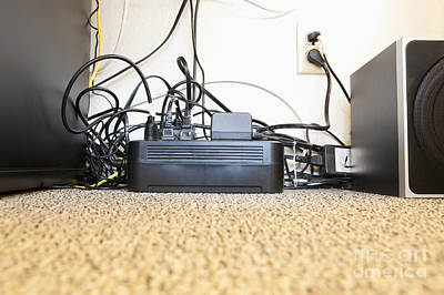 Surge Protector And Many Power Cables Art Print