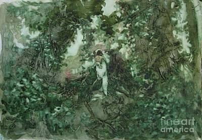 Art Print featuring the painting Surprised Bather by Elizabeth Carr