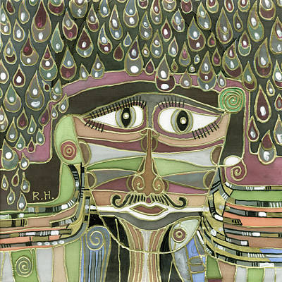 Painting - Surprize Drops Surrealistic Green Brown Face With  Liquid Drops Large Eyes Mustache  by Rachel Hershkovitz