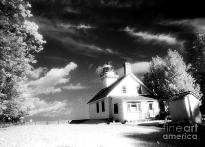 Surreal Black White Infrared Black Sky Lighthouse - Traverse City Michigan Mission Point Lighthouse Print by Kathy Fornal