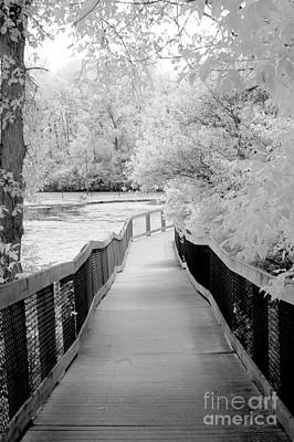Surreal Black White Infrared Bridge Walk Print by Kathy Fornal