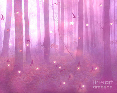 Photograph - Surreal Fantasy Dreamy Pink Starlit Woodlands by Kathy Fornal