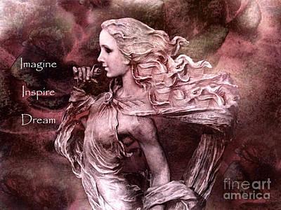 Surreal Fantasy Inspirational Angel Art  Art Print by Kathy Fornal