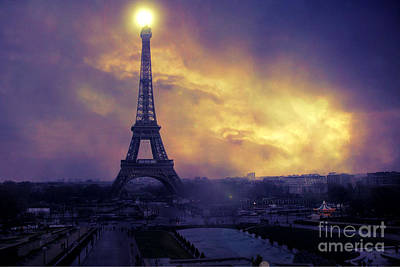 Surreal Paris Decor Photograph - Surreal Fantasy Paris Eiffel Tower Sunset Sky Scene by Kathy Fornal