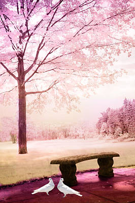 Photograph - Surreal Fantasy Park Bench With White Doves by Kathy Fornal